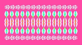 Elegant and decorative border of Hindu and Arabic inspiration of various colors. White and yellow and light fuchsia background a Stock Illustration