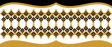 Elegant decorative border made up of square golden and black 24.  Royalty Free Illustration