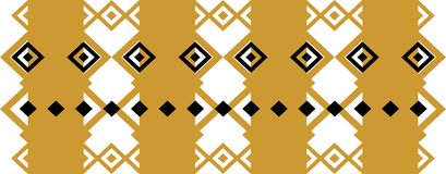 Elegant decorative border made up of square golden and black 19.  Stock Illustration