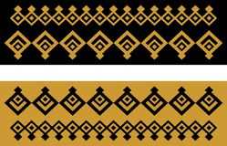Elegant decorative border made up of square golden and black 23 Vector Illustration