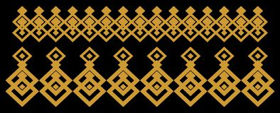 Elegant decorative border made up of square golden and black 12. A Vector Illustration