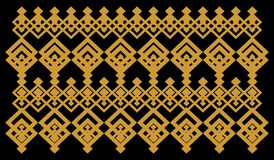 Elegant decorative border made up of square golden and black 16. A Vector Illustration