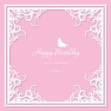 Elegant decorative frame. Birthday greeting card template. Filigree laser cutting design. For wedding, bridal shower Royalty Free Stock Photography
