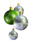 Elegant decorative isolated christmas baubles. Royalty Free Stock Photos