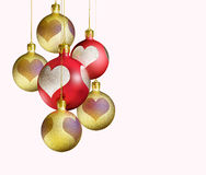 Elegant decorative, isolated christmas baubles. Royalty Free Stock Photos