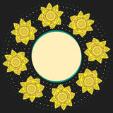 Elegant decorative round frame with yellow narcissuses and dots on black background Royalty Free Stock Images