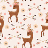 Elegant deer in floral wreath with arrows seamless wallpaper Royalty Free Stock Photo
