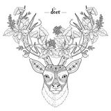 Elegant deer head. Coloring page in exquisite style vector illustration