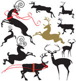 Elegant deer silhouettes. Vector illustration of several elegant deer silhouettes running, jumping, leaping and standing Royalty Free Stock Image