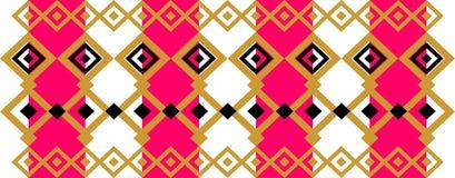 Elegant dekorativ gräns som utgöras av fyrkantig guld-, svart och ljusrött Royaltyfri Bild