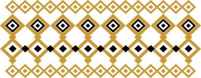 Elegant dekorativ gräns som utgöras av fyrkantigt guld- och svart 21 Fotografering för Bildbyråer