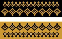Elegant dekorativ gräns som utgöras av fyrkantigt guld- och svart 23 Royaltyfria Bilder