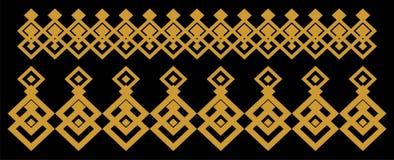 Elegant dekorativ gräns som utgöras av fyrkantigt guld- och svart 12 Royaltyfri Foto