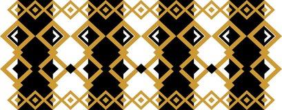 Elegant dekorativ gräns som utgöras av fyrkantigt guld- och svart 18 Arkivbild