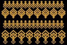 Elegant dekorativ gräns som utgöras av fyrkantigt guld- och svart 16 Arkivbilder