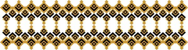 Elegant dekorativ gräns som utgöras av fyrkantigt guld- och svart 29 Arkivbild