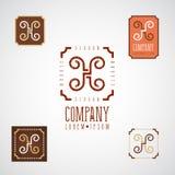 Elegant dekorativ logo för mat, kafé, restaurang, konditor Royaltyfri Bild