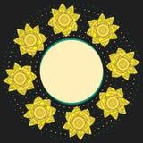 Elegant dekorativ rund ram med gula narcissuses och prickar på svart bakgrund Royaltyfria Bilder
