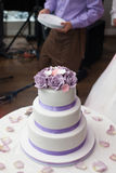 Elegant, delicious and tasty white wedding cake decorated with p Stock Photo