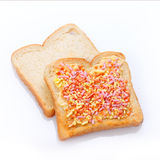 Elegant dessert made of bread with candies Royalty Free Stock Photo
