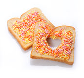 Elegant dessert made of bread with candies Stock Photos