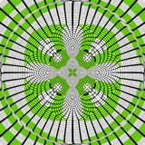 Elegant diagonal rotate kaleidoscope cross or tatoo in going green, effect of pixelisation stock illustration