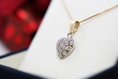 Elegant Diamante heart. Chic woman pendant over white Royalty Free Stock Photography