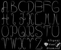 Elegant diamond font set on and transparent background. Capital letters vector illustration