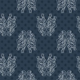 Elegant difficult curled ornamental gothic tattoo seamless pattern. Celtic style. Maori. Royalty Free Stock Photo