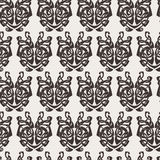 Elegant difficult curled ornamental gothic tattoo seamless pattern. Celtic style. Maori. Weaving. Monochrome image Stock Images