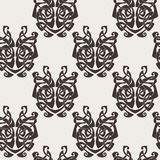 Elegant difficult curled ornamental gothic tattoo seamless pattern. Celtic style. Maori. Weaving. Monochrome image Royalty Free Stock Photography