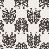Elegant difficult curled ornamental gothic tattoo seamless pattern. Celtic style. Maori. Weaving. Monochrome image Royalty Free Stock Images