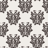 Elegant difficult curled ornamental gothic tattoo seamless pattern. Celtic style. Maori. Weaving. Monochrome image Royalty Free Stock Image