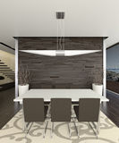 Elegant dining room 3d. Rendered 3d interior of spacious dining room Royalty Free Stock Photo