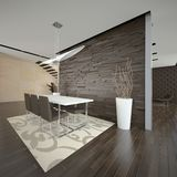 Elegant dining room 3d. Rendered 3d interior of spacious dining room Stock Images