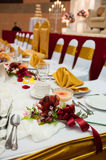Elegant Dining Table. Dining table for wedding reception party Royalty Free Stock Photography