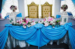 Elegant Dining Table. Dining table for wedding reception party Stock Photo