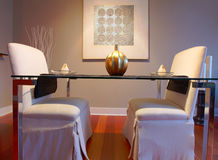Elegant dining table set in a modern living room Stock Images