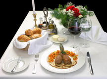 ELEGANT DINNER. Table ready to serve an elegant dinner Royalty Free Stock Photo
