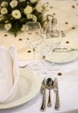 Elegant dinner table Stock Photos