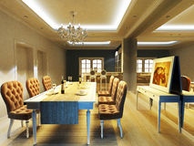 A elegant dinning room. With romatic feeling royalty free illustration