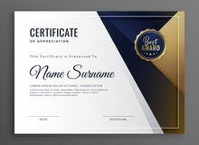 Elegant diploma certificate of achievement template design. Vector royalty free illustration