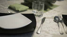 Elegant dishes on a table stock footage