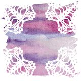 Elegant doily on watercolor background. Stock Photography