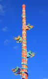 The Elegant Dragon. On the sky at chinese temple in Thailand Royalty Free Stock Photos