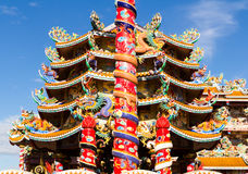 The Elegant Dragon. On the sky at chinese temple in Thailand Stock Photography