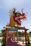 The Elegant Dragon on the sky. At chinese temple in Thailand Stock Images