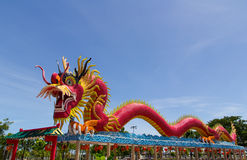 The Elegant Dragon on the sky. At chinese temple in Thailand Royalty Free Stock Photos