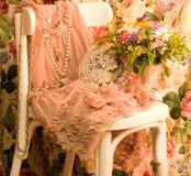 Elegant dress,beads and flower Royalty Free Stock Image
