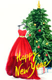 Elegant dress hanging on Christmas tree. watercolor illustration Royalty Free Stock Photos